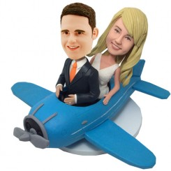 custom couple on plane wedding bobbleheads