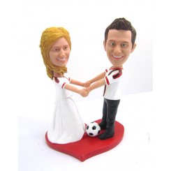 custom couple playing soccer bobblehead