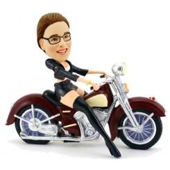 custom female mortor biker bobblehead