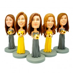 custom five bridesmaid bobble heads