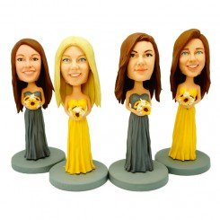 custom four bridesmaid bobble heads