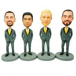 custom four groomsmen bobblehead