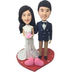 custom loving hearts wedding bobbleheads