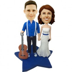 custom music couple wedding bobbleheads