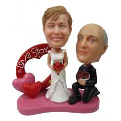 custom red heart style wedding bobblehead