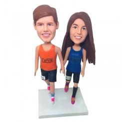 custom running couple bobblehead