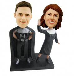 custom super hero in black cloak couple bobblehead