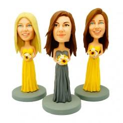 custom three bridesmaid bobble heads