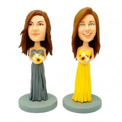 custom two bridesmaid bobble heads