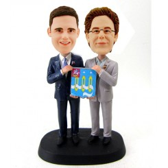 custom two male hold a board bobbleheads