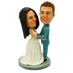 custom wedding bobble head cake topper
