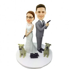 custom wedding bobbleheads with dogs
