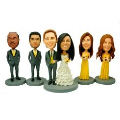 custom weddingke topper 2 bridesmaids 2 groomsmen bobblehead