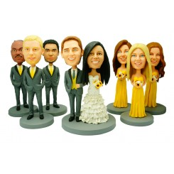 custom weddingke topper 3 bridesmaids 3 groomsmen bobblehead