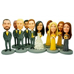 custom weddingke topper 4 bridesmaids 4 groomsmen bobblehead