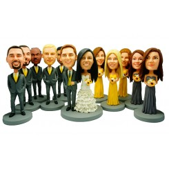 custom weddingke topper 5 bridesmaids 5 groomsmen bobblehead