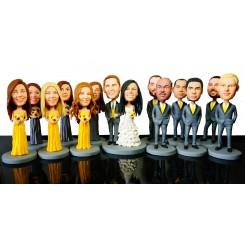 custom weddingke topper 6 bridesmaids 6 groomsmen bobblehead