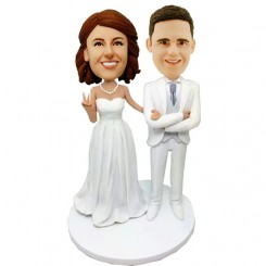 custom white suit wedding bobbleheads cake topper