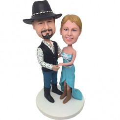 personalised cowboy wedding bobble heads