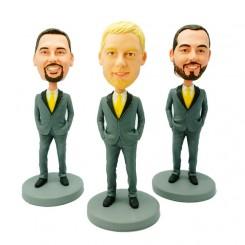 personalized three groomsmen bobblehead