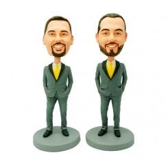 personalized two groomsmen bobblehead