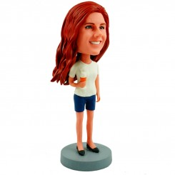 casual pretty girl personalised bobblehead