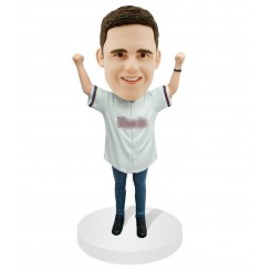 custom baseball cheering male fan bobblehead
