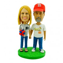 custom baseball couple bobblehead
