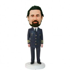 custom captain in black uniform bobblehead