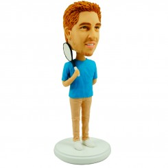 custom casual bobblehead rrying a tennis racket