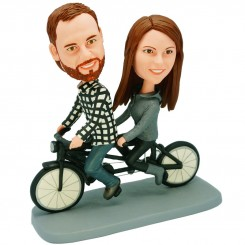 custom couple tandem bicycle bobblehead