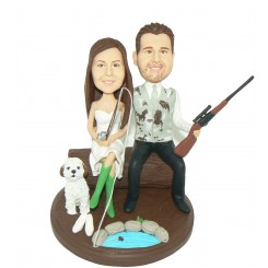 custom fishing and hunting wedding cake toppers