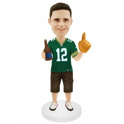 custom football bobblehead fans holding a bottle of beer