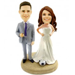 custom football fans couple bobblehead