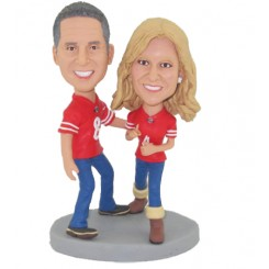 custom football fans couple cake topper
