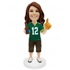 custom football female fans bobble head doll holding a bottle of beer