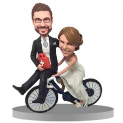 custom funny cycling couple bobbleheads