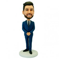 custom male colleague in a blue suit bobblehead