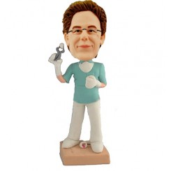 custom male dentist with  tooth bobblehead