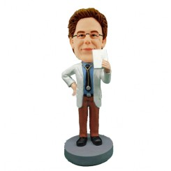 custom male doctor drinking coffee bobblehead