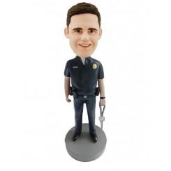 custom male police officer holding keys bobblehead