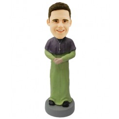 custom priest bobblehead in green dress