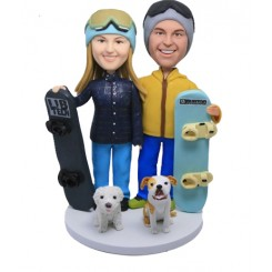 custom snow boarding couple cake toppers