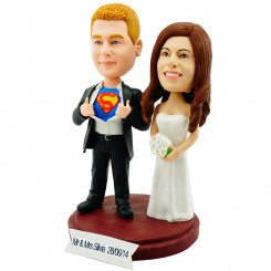 custom superman couple wedding cake topper
