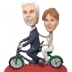 custom tandem bicycle couple bobblehead