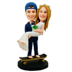 custom wedding bobblehead on skateboard