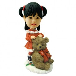 customised christmas bobble head child with large teddy bear
