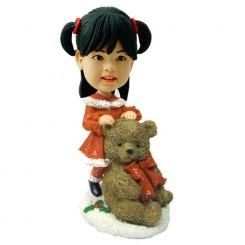 customised christmas bobble head child with large teddy bear