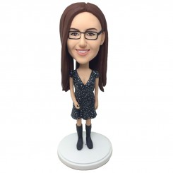 customised pretty girl bobblehead in one piece black dress
