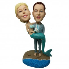 customised wedding bobblehead cake topper